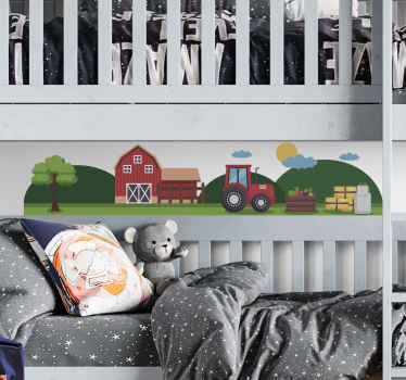 Lovely decorative children farm tractor wall decal. The design features lovely illustration of a colorful farm landscape with farm house, tractor, etc