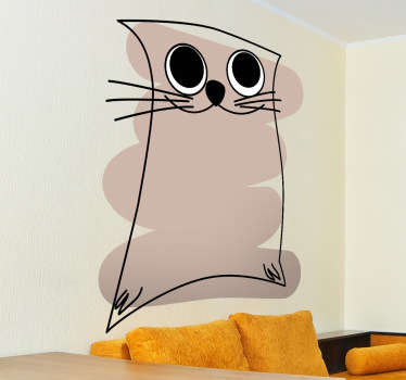 Kids Wall Stickers - Original abstract design of a cat against a brown stroke. Great for animal lovers.