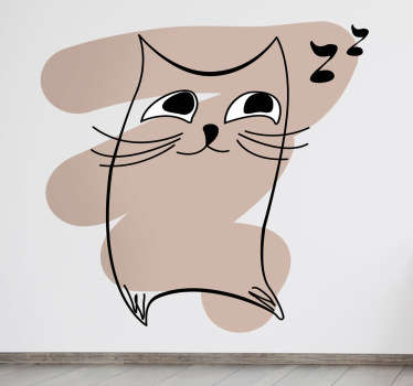 Kids Wall Stickers - Original abstract design of a cat against a light brown stroke. Great for animal lovers.