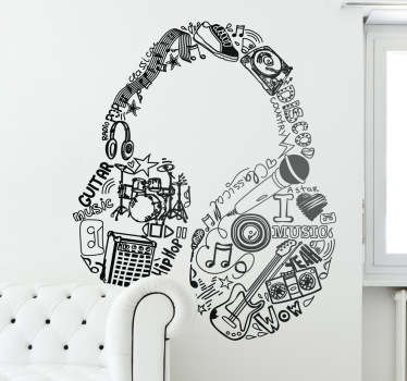 Wall Stickers - Original design of a pair of headphones made up of different sources of music. Easy to apply. Anti-bubble vinyl.
