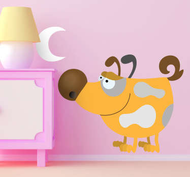Kids Wall Stickers - Playful illustration of a distinctive dog smiling under the moon.