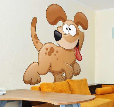 Sticker kinderkamer vrolijk spelende hond