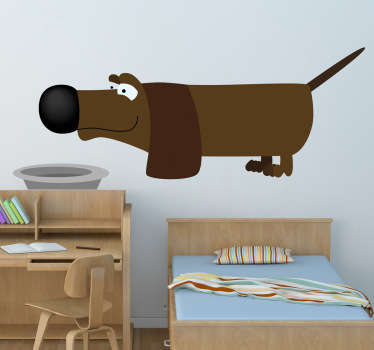 Kids Wall Sticker - Animals - Adorable and playful illustration of a brown sausage dog. Great for young animal lovers.