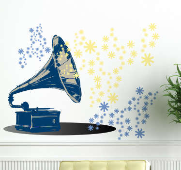 Wall Stickers - Illustration of a classic trumpet horn turntable. A delight for those who love the old musical sound.