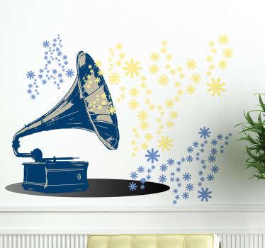 Naklejka dekoracyjna gramofon i kwiaty