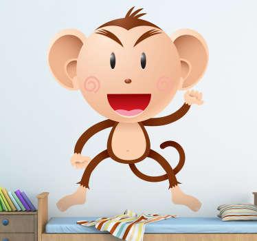 Sticker enfant singe salut