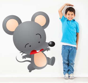 动物-一只跳跃的灰色老鼠的可爱和顽皮的插图。非常适合年轻的动物爱好者。