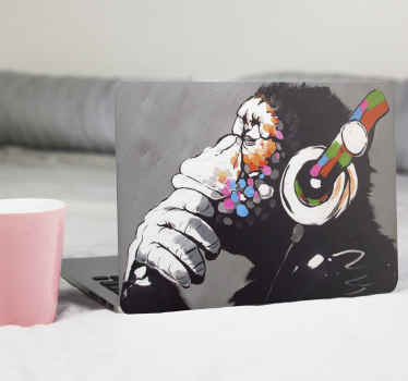 DJ monkey graffiti Banksy art laptop skin design for those that love djs and any thing that represent or illustrates them.