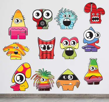A collection of twelve different monsters! Great monster wall stickers to decorate your children's play area.