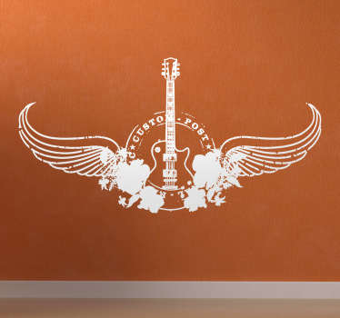 Electric Guitar Wings Wall Sticker