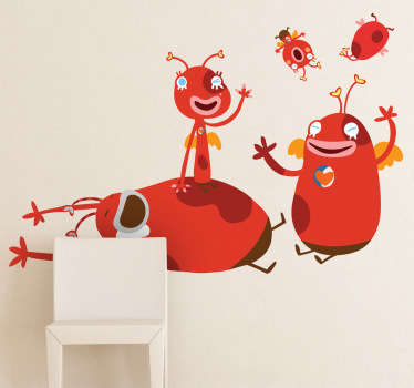 A great monster wall sticker illustrating a family of mysterious creatures. Brilliant children's decal to decorate their bedroom or play area.
