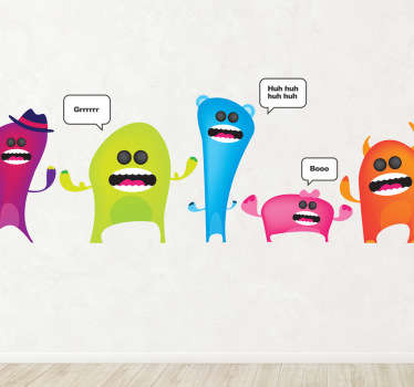 Colourful Monsters Wall Sicker