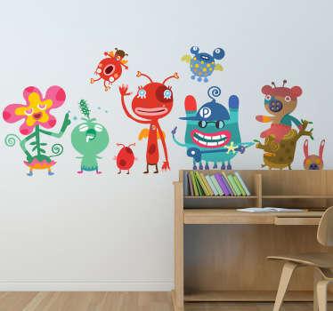 Sticker kinderen vriendelijke monsters