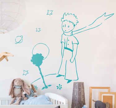 If your kid love the little prince story then the bedroom should be decorated with this illustrative design of little prince in space with roses.
