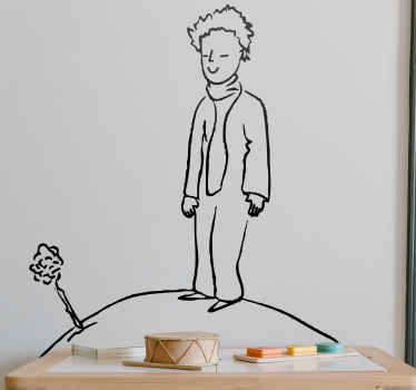 Simple illustration decal for children bedroom in hand drawing style. Little prince is illustrated to be standing on the moon.