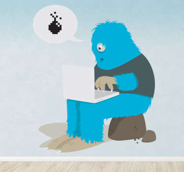 A fun and playful illustration of a one eyed blue monster playing games on his laptop. A design from our collection of funny wall stickers.