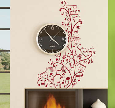 Floral Music Notes Wall Sticker