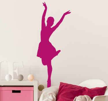 Ballet position dance wall sticker for lovers of bailer dancing. The design illustrates a girl in a bailer dancing position.
