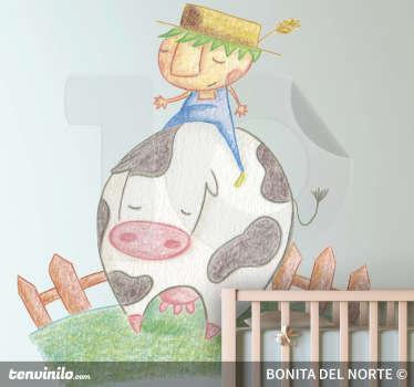 Bauer mit Kuh Aufkleber