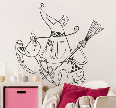Kids Wall Stickers - Illustration by Raquel Bláquez of a witch and her pet cats. Ideal for decorating areas for children. Available in various sizes.