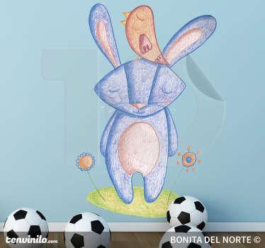 Vinilo infantil conejo y pajarito