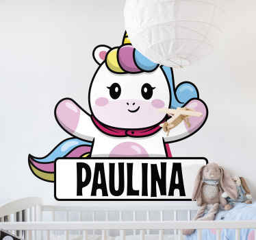 Customize your baby's name on this amazing decorative cartoon unicorn decal for children bedroom. Available in any size needed.