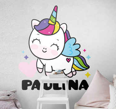 Sweet unicorn with name personalized decal - Lovely  design to decorate children bedroom, playroom and nursery space. Easy to apply and removable.