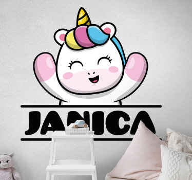 Popping out unicorn with name custom sticker - Pretty decorative children bedroom decal, playroom and nursery  decoration.