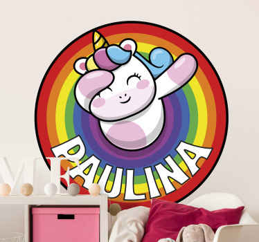 Unicorn on a rainbow personalized decal - Beautiful design to customize children bedroom, playroom and nursery space. Easy to apply and durable.