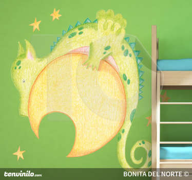 Kids Wall Stickers - Original pencil sketch illustration by Raquel Bláquez of a dragon resting on the moon surrounded by stars.