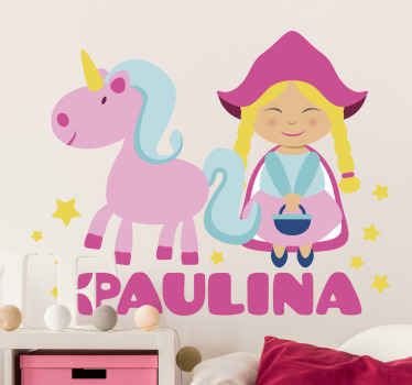 Personalize the name of your kid on this amazing cute unicorn decal with a girl. The sticker is easy to apply, it can be applied on any flat surface.