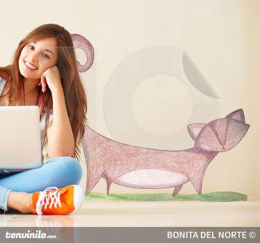 Genial dibujo adhesivo hecho a mano por la ilustradora Raquel Blázquez de un felino paseando.
