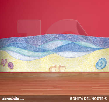 Spectacular sticker designed by illustrator Raquel Blázquez with a drawing of a sandy beach and flowing waves.