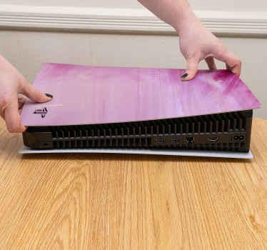 Ps5-sticker in geborsteld roze olieverf - geniet van onze geweldige decoratieve zelfklevende sticker voor uw playstation. Bestel hem nu!