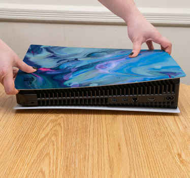 Teal waves oil paint PS5 sticker for a PlayStation decoration. You would love this design and it also serve as protection for the device from scratch.