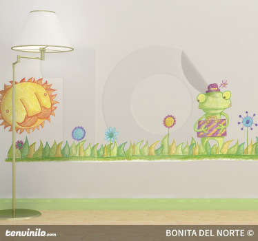 A fantastic kids decal illustrating a frog on a field enjoying a sunny day. Great frog wall sticker to decorate your children's bedroom.