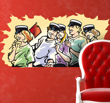 Students in row with captain hat laughing wall sticker