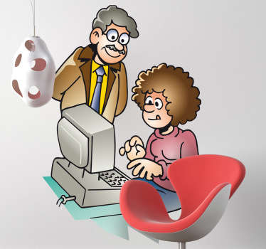 Wall Stickers - Illustration of a teacher helping a student on the computer. Available in various sizes.