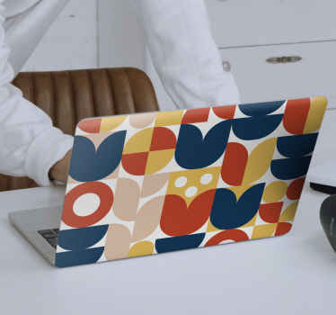 A very lovely and colorful decorative laptop skin cover decal with design of geometric patterns in styles. It is made with quality vinyl and adheisve.