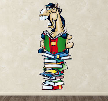 A colourful design illustrating a horse reading a mountain of books from our collection of horse wall stickers!