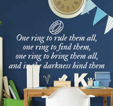 A decorative Hollywood movie text quote extract from lord of the ring. The quote is an extract from the character (Sauron ) ambition to rule.