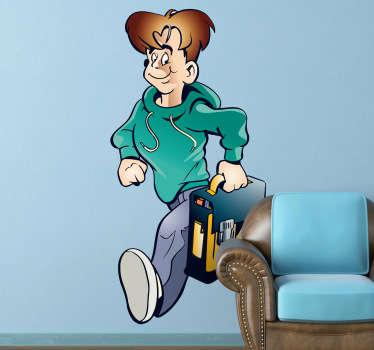 Dessin en stickers illustrant un jeune garçon pressant le pas pour aller en cours.Super idée déco pour la chambre d'enfant ou pour la personnalisation d'affaires personnelles.
