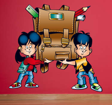 A decorative wall sticker illustrating two children carrying a full and heavy backpack filled with school essentials.