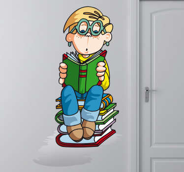 A kids wall sticker illustrating a young boy reading his book very carefully. Briliant decor decal for children's study room.