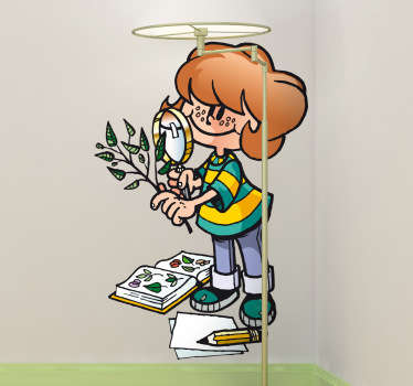 Sticker with an illustration of a young student looking at a tree branch through a magnifying glass.