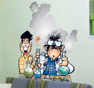 This wall decal illustrates a student and his science teacher carrying out an experiment where he mixes these chemicals leading to an explosion.