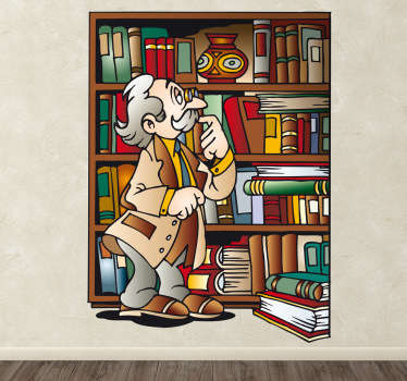 A colourful cartoon vinyl showing a friendly old bespectacled man surveying his books lovingly.