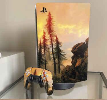 Autocollant décoratif ps5 avec une belle illustration de la forêt dorée avec une belle atmosphère. Il est durable et facile à appliquer .