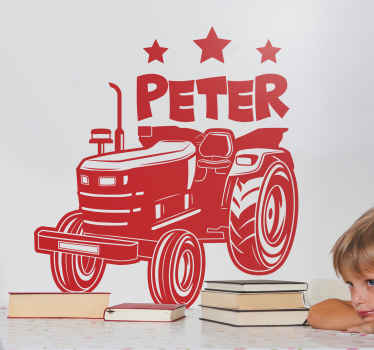 A customizable colour children toy tractor decal with name to decorate children bedroom or play room space. Very easy to apply and removable.