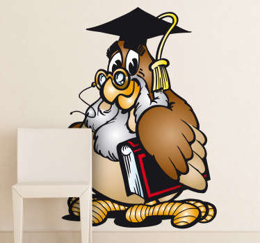 Kids Wall Stickers - Playful illustration of a wise owl teacher. Ideal for decorating areas for children and educational establishments.
